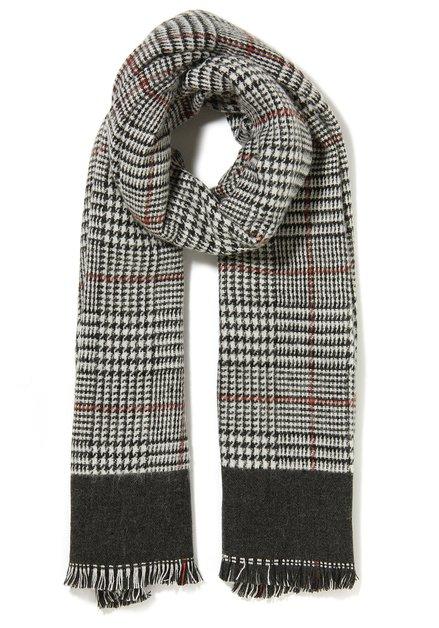Grijs geruit sjaal met rood accent