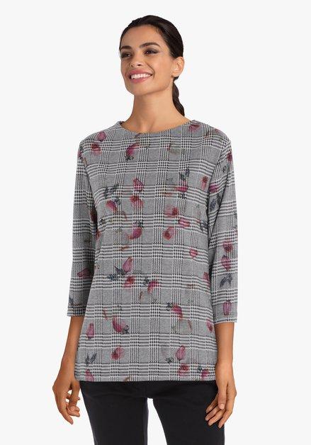 Grijs geruit T-shirt met roze accenten