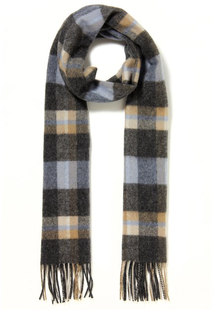 Grijs geruite wollen sjaal