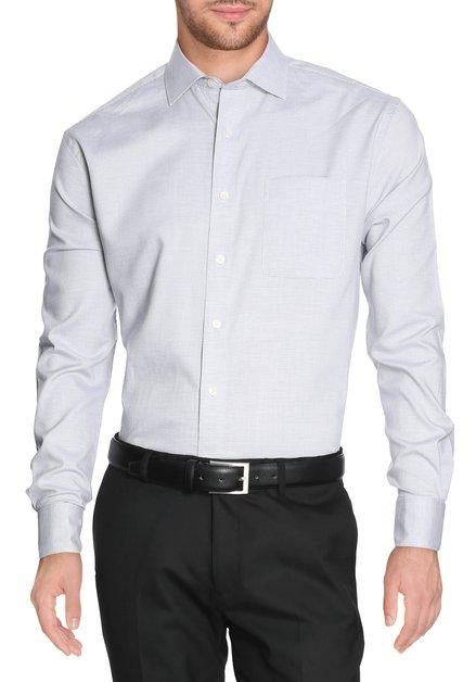 Grijs hemd met miniprint - comfort fit