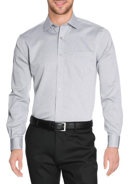 Grijs hemd met miniprint - regular fit