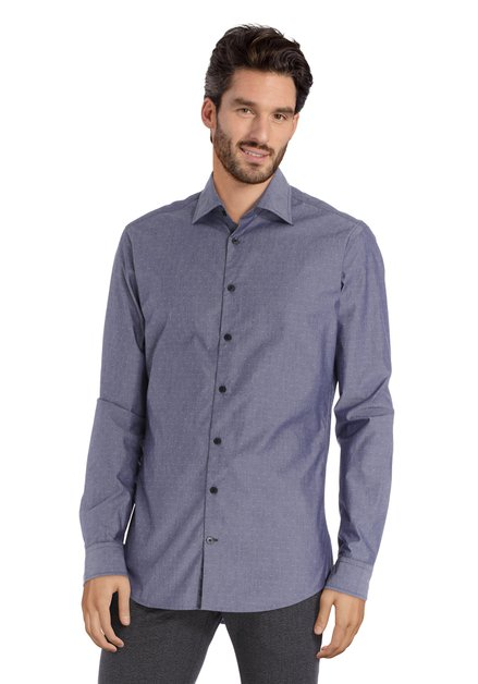 Grijs hemd met miniprint - slim fit