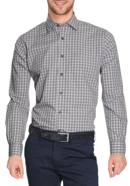 Grijs hemd met  ruiten - regular fit