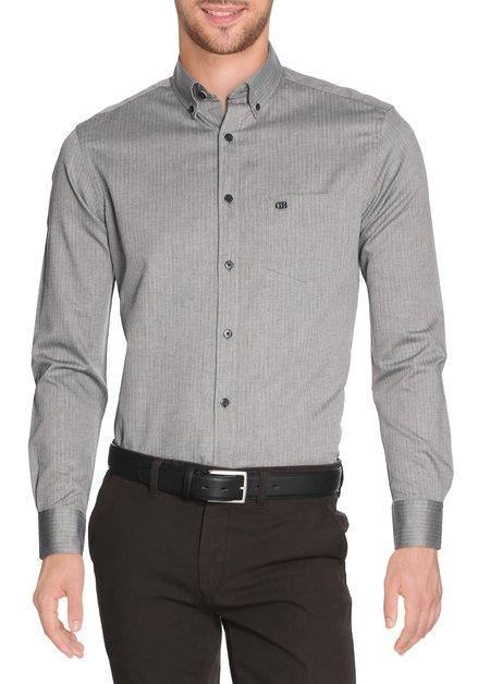 Grijs hemd met visgraatmotief - slender fit