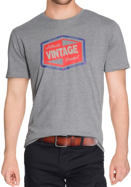 Grijs katoenen T-shirt met print en ronde hals