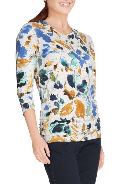 Grijs T-shirt met blauwe bloemen