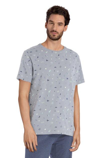Grijs T-shirt met blauwe print