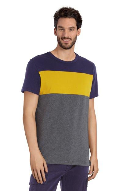 Grijs T-shirt met geel en paarse strepen