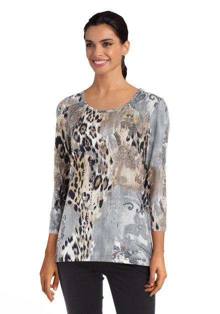 Grijs T-shirt met print en strass steentjes