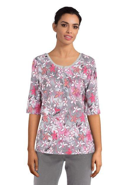 Grijs T-shirt met roze bloemenprint