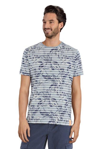 Grijs T-shirt met strepen en bladermotief