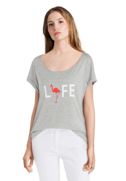 """Grijs T-shirt met tekst """"LIFE"""""""