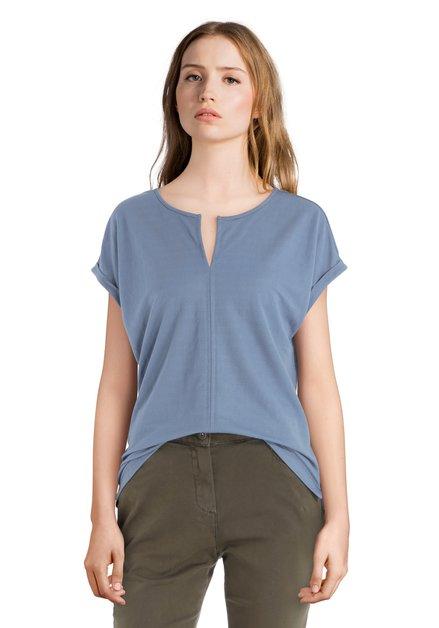 Grijsblauw T-shirt met uitsnijding