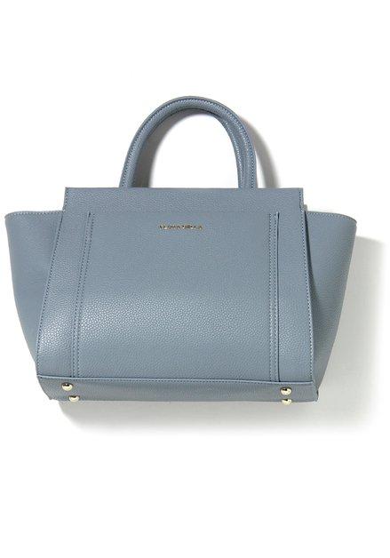 Grijsblauwe neplederen handtas