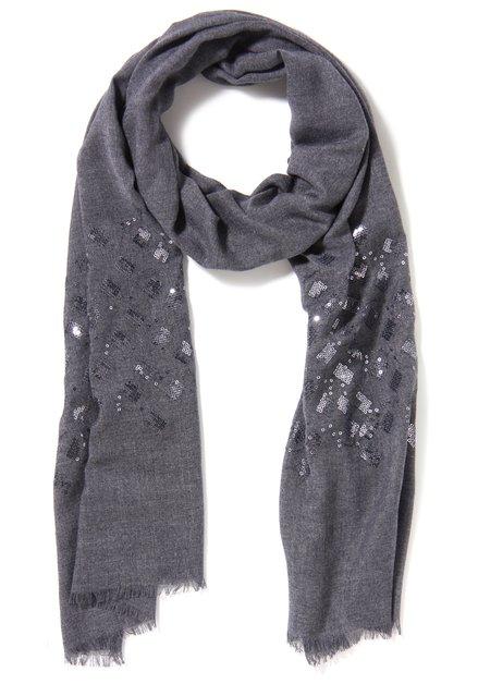Grijsblauwe sjaal met pailletten