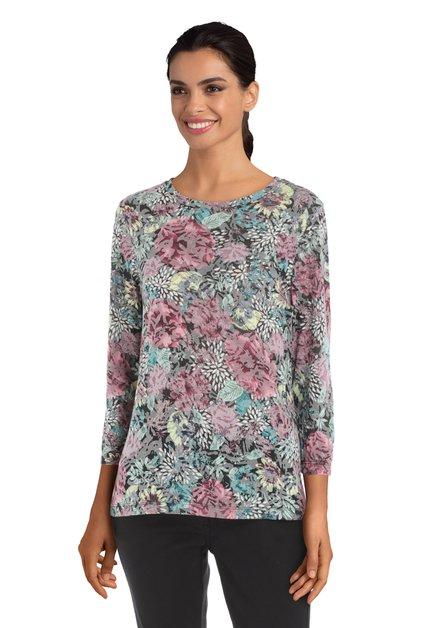 Grijsroze T-shirt met bloemen