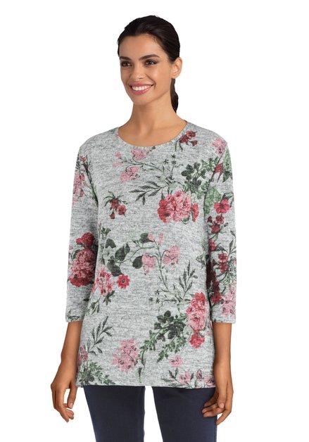 Grijze blouse met bloemenprint