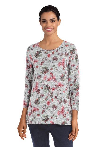 Grijze blouse met plantenprint