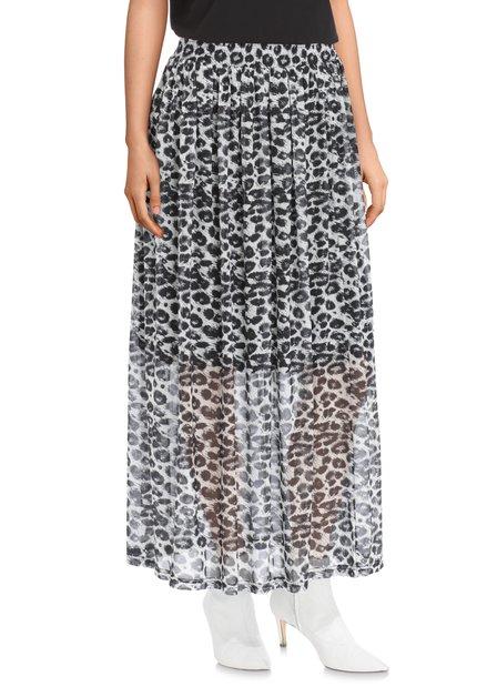 Grijze en zwarte lange rok met panterprint