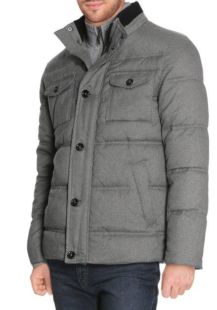 Grijze gematelasseerde jas met opstaande kraag