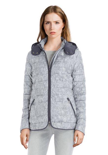 Grijze gematelasseerde jas met print