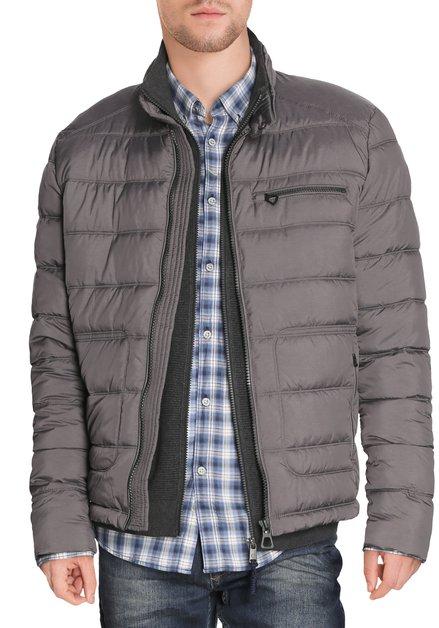 Grijze gematelasserde jas zonder kap