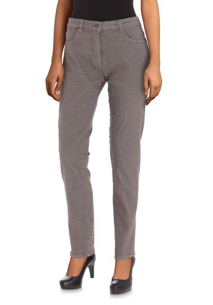 Grijze jeans met hoge taille - slim fit - L32