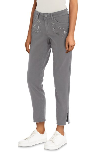 Grijze jeans met strass - slim fit