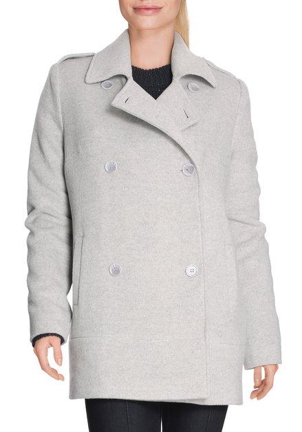 Grijze mantel met wol