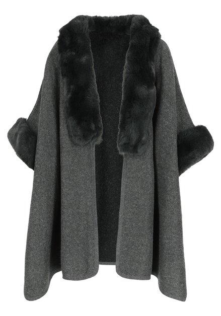 Grijze poncho met kraag in fake fur