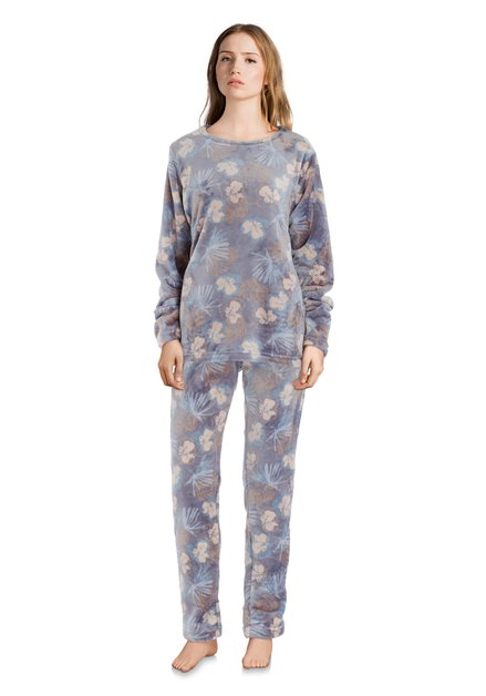 Grijze pyjama met lichtblauwe bloemen