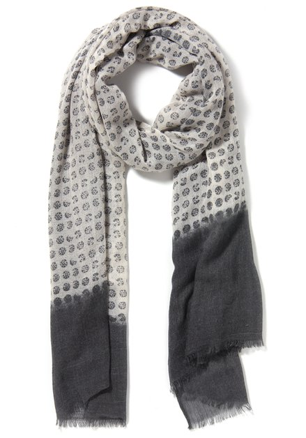 Grijze sjaal met ecru print