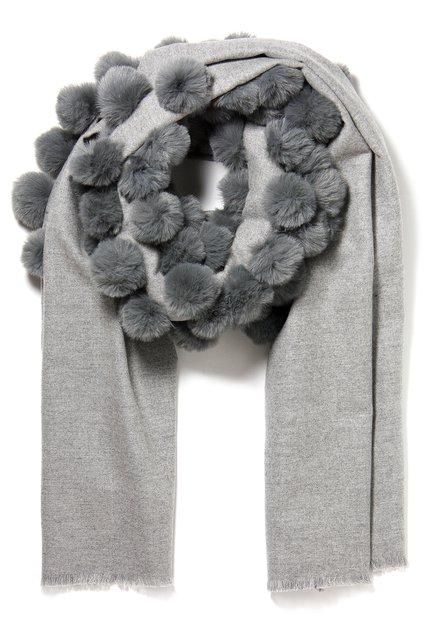 Grijze sjaal met pompons
