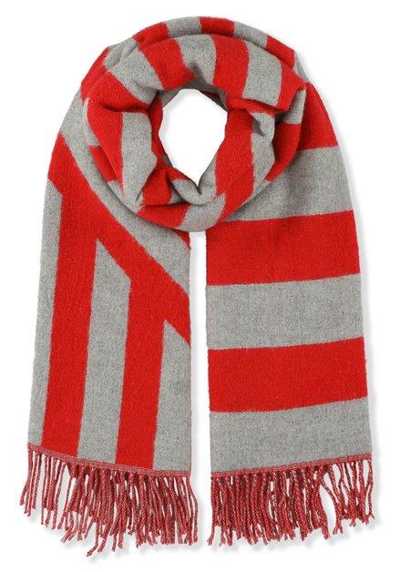 Grijze sjaal met rode strepen
