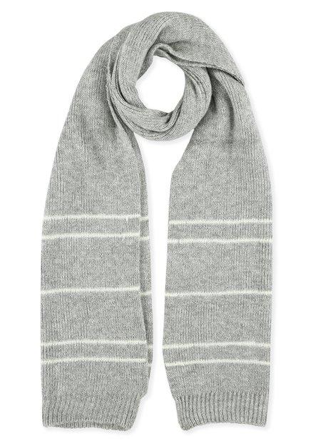 Grijze sjaal met witte strepen