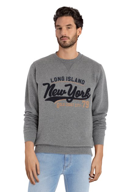 Grijze sportieve pull met Long Island-logo
