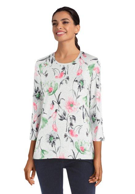 Grijze T-shirt met groen-roos bloemenmotief