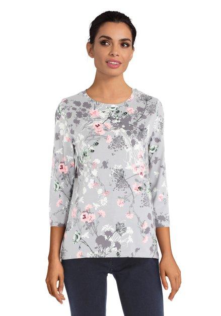 Grijze T-shirt met kleurijk bloemenmotief