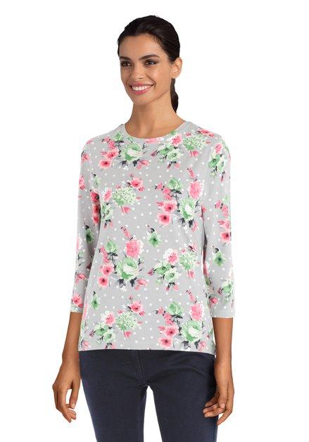Grijze T-shirt met stippen en bloemenmotief