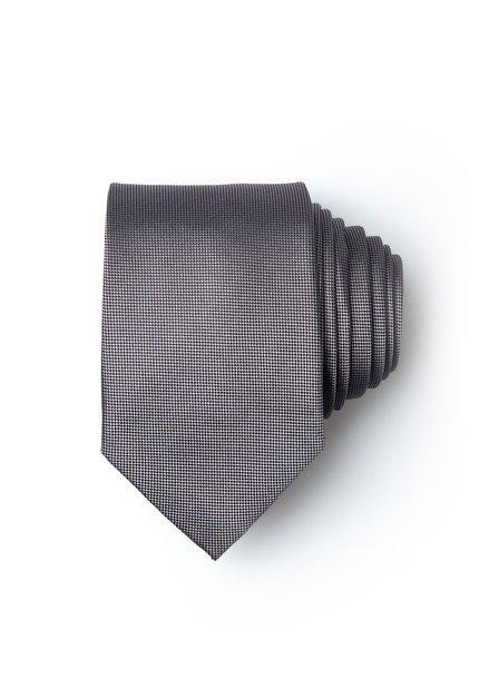 Grijze zijden das met fijne print