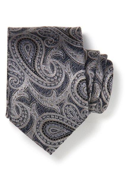Grijze zijden das met paisleyprint