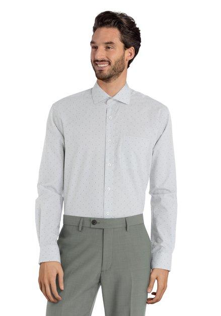 Groen hemd met mini-motief – Romelu - regular fit