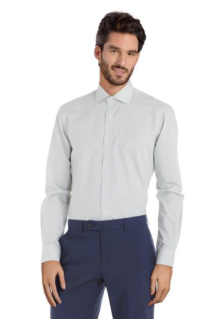 Groen hemd met mini-motief – Sigmund - slender fit