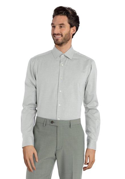 Groen hemd met minimotief – Svend - slender fit