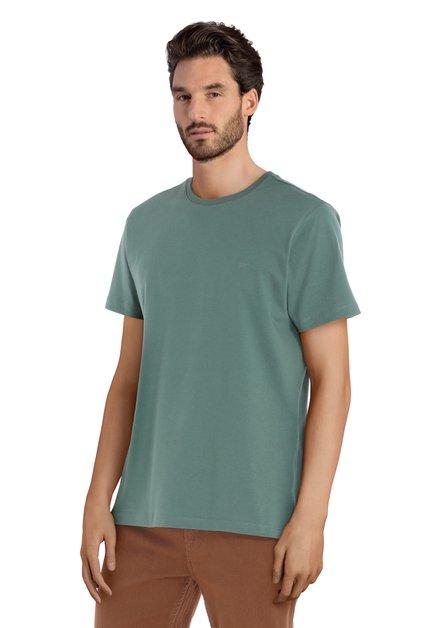 Groen katoenen T-shirt met ronde geribde hals