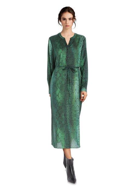 Groen lang kleed met slangenprint