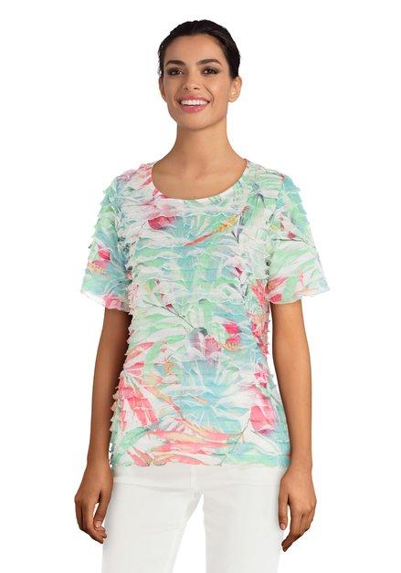 Groen T-shirt met bloemenprint en volants