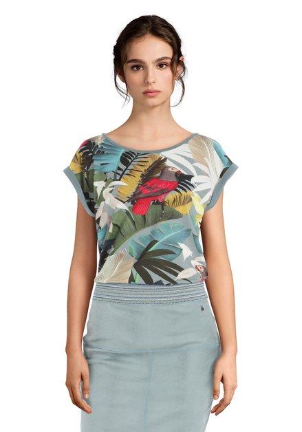Groen T-shirt met exotische print