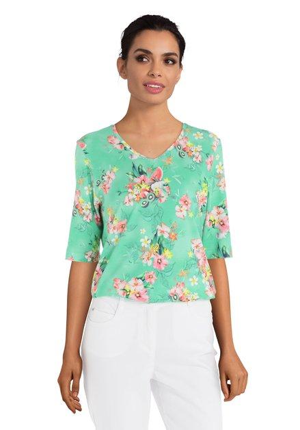 Groen T-shirt met roze bloemen