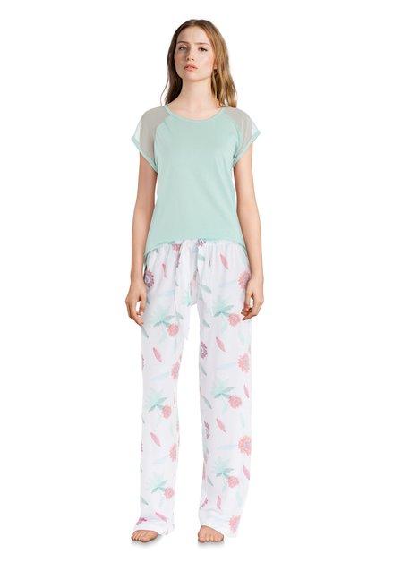Groen/witte pyjama met tropische print